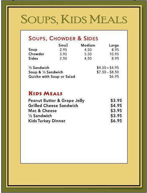Soups & Kids Meals
